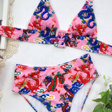 Cute Floral Two Piece Halter Swimwear