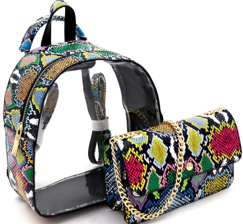 Transparent Clear Snake Print 2 in 1 Convertible Backpack Multi-2 IN 1