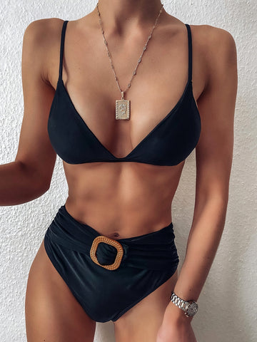 Sexy Black Two Piece Swimwear with Belt
