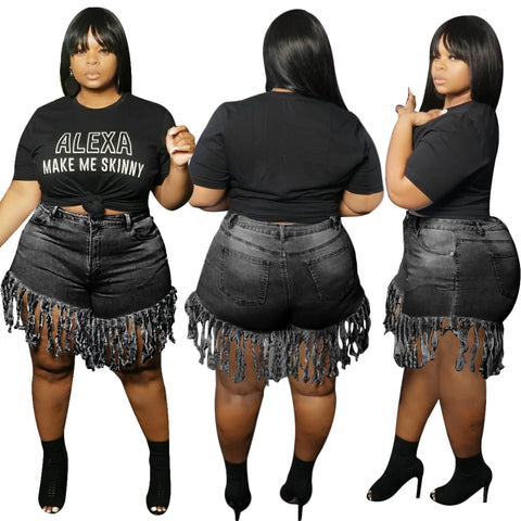 Plus Size High Waist Sexy Tassels Denim Shorts