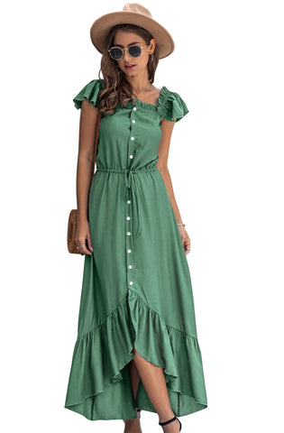 Summer Irregular Ruffles Long Sheer Maxi Dress