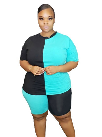 Plus Size Summer Contrast Two Piece Shorts Set