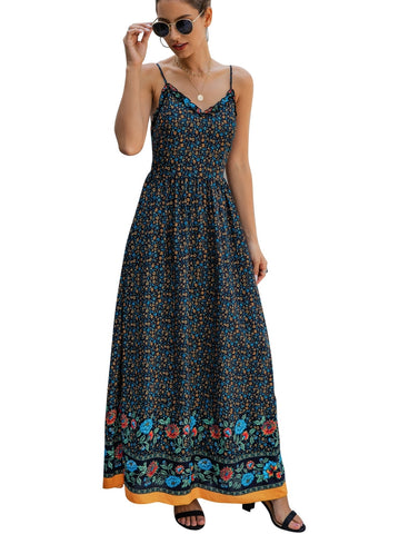 Summer Floral Straps Long Bohemain Dress
