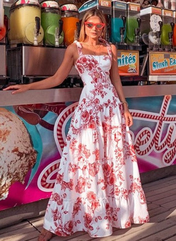 Summer White and Red Straps Long Holiday Dress