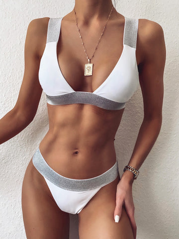 Sexy Two Piece Wide Straps Metallic Swimwear