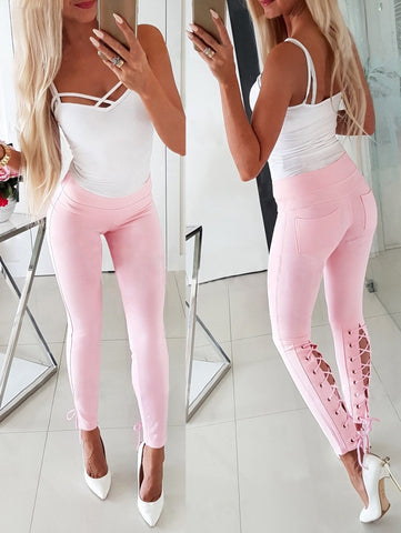 Summer Lace Up Bottom Fit Unique Pants
