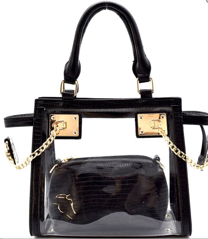 Chained Hardware Accent Transparent Clear 2 in 1 Wing Satchel