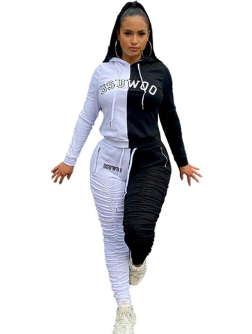 Sports Long Sleeves Contrast Stracked Pants Set