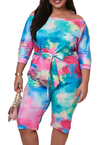 Plus Size Tie Dye Off Shoulder Sexy Rompers with Belt