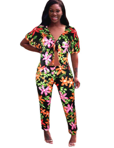 Summer Two Piece Floral African Pants Set