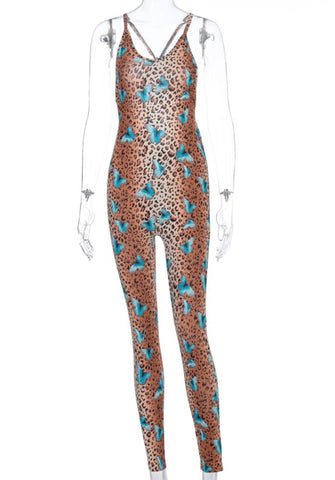Summer Butterfly Print Sexy Scrunch Bodycon Jumpsuit
