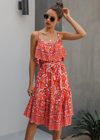 Summer Straps Floral A-Line Long Dress