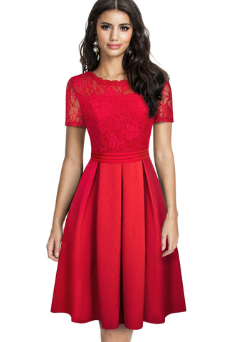 Lace Upper Pleated Vintage Prom Dress