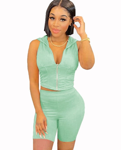Summer Sporty Two Piece Bodycon Shorts Set