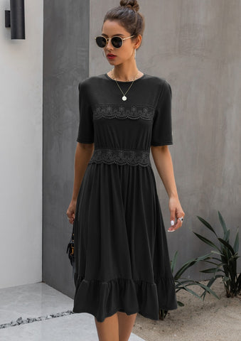 Summer Lace Accent A-line Knee-length Dress