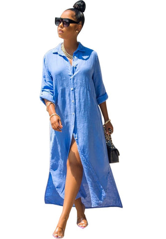Casual Sheer Long Blouse Dress with Sleeves