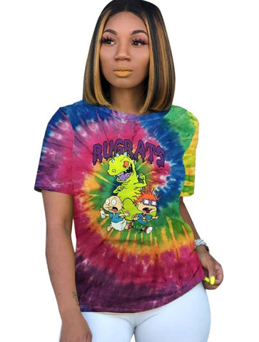 Summer Tie Dye Cartoon Print Shirt