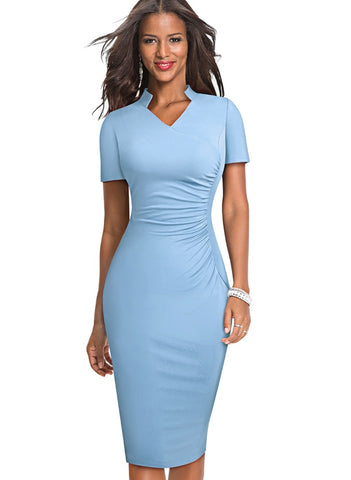 Sheer Office Pencil Dress with Short Sleeves