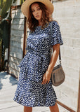 Summer Dot Print Layer Dress with Short Sleeves