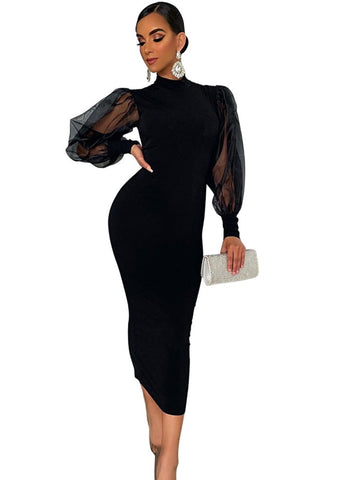 Sexy Black Slim Midi Dress with Mesh Sleeves