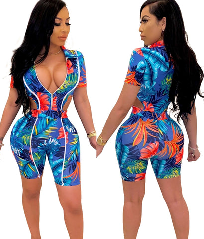 Summer Print Blue Bodycon Rompers