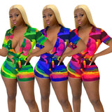 Summer Deep-V Sexy Tie Dye Bodycon Rompers