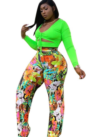 Plus Size Neon Crop Top and Floral Pants Set