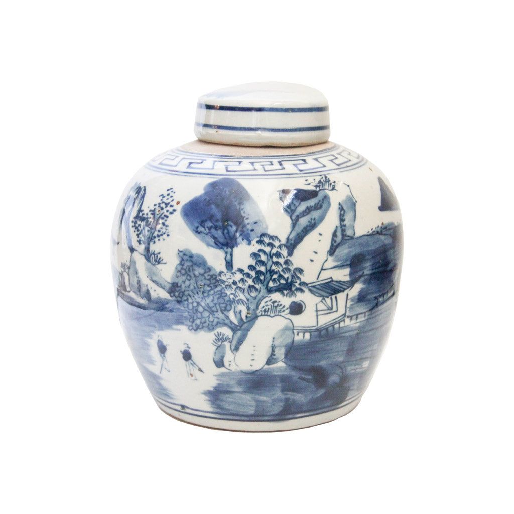 Blue and White Chinese Porcelain Pot - lidded garden scene design