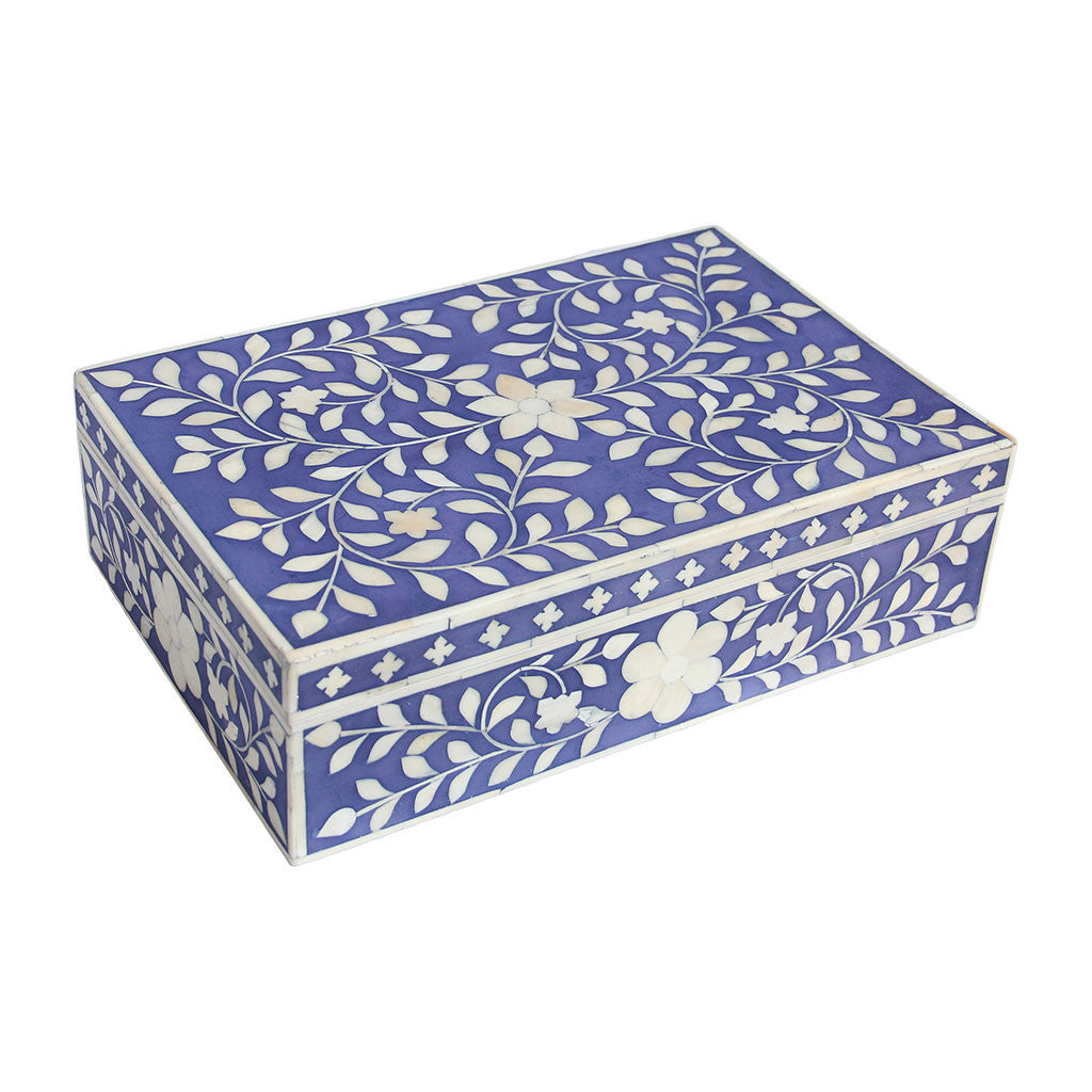 Bone Inlay Box - Indigo Floral - Meridian