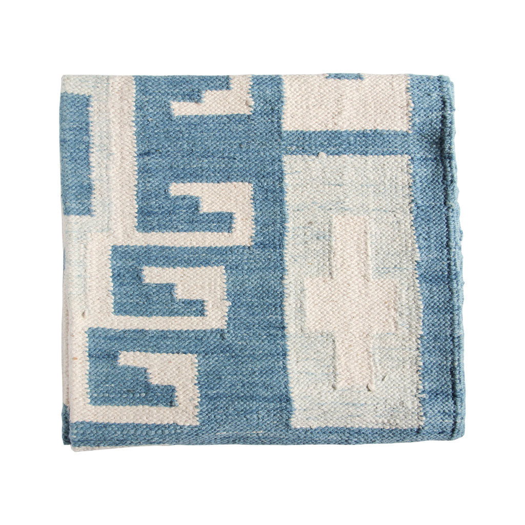 Blue and white Guatemalan rug