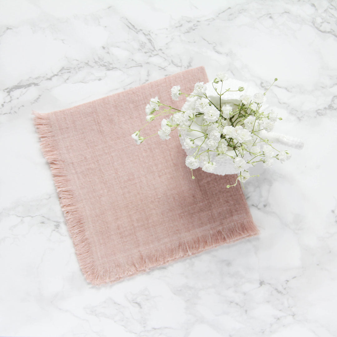 Stone washed linen cocktail napkins blush