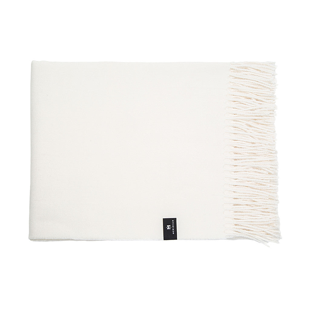 Alpaca Throw Blanket - White Natural - Meridian