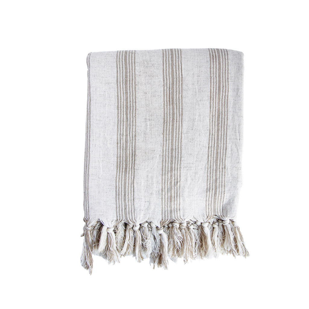 Handmade lightweight throw neutral home decor Turkish towel