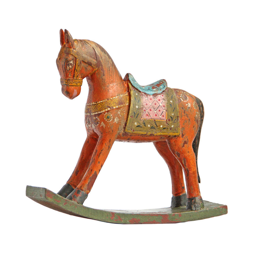 Preferred Meridian | Vintage Painted Wood Rocking Horse From India SW84
