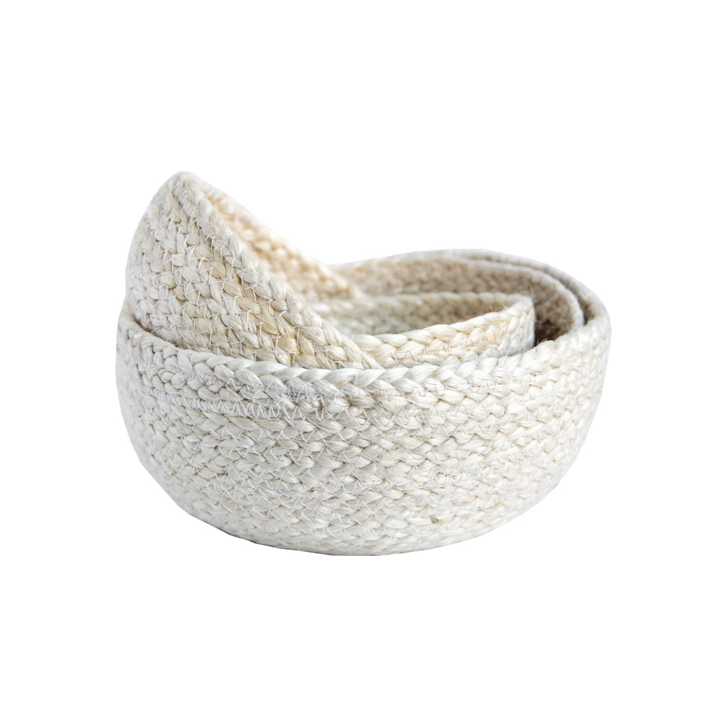 Handmade Fair Trade nesting basket set white neutral