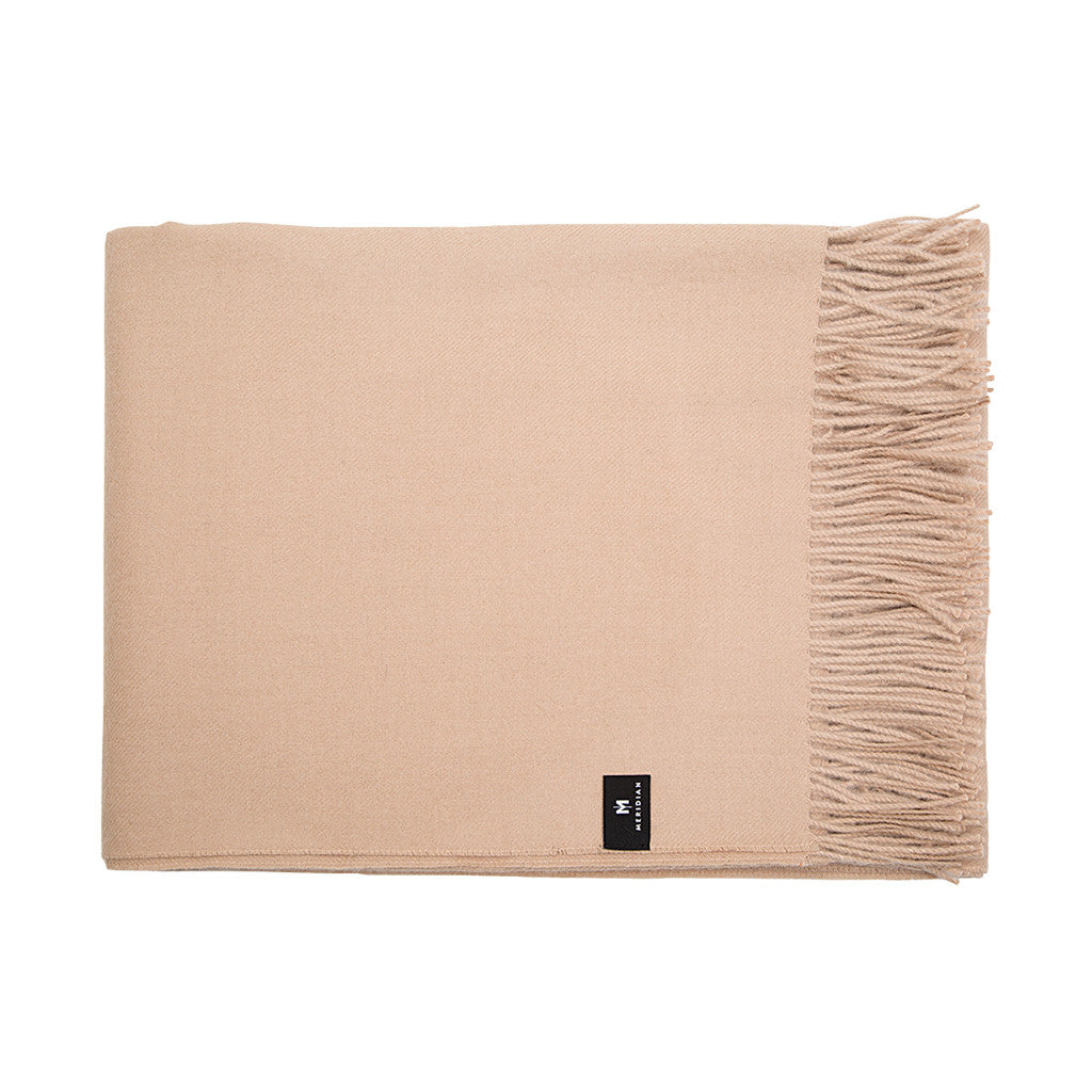 Alpaca Throw Blanket - Sand Beige Color - Meridian