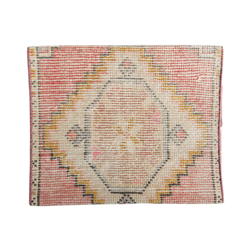 Vintage Turkish mini rug yastik