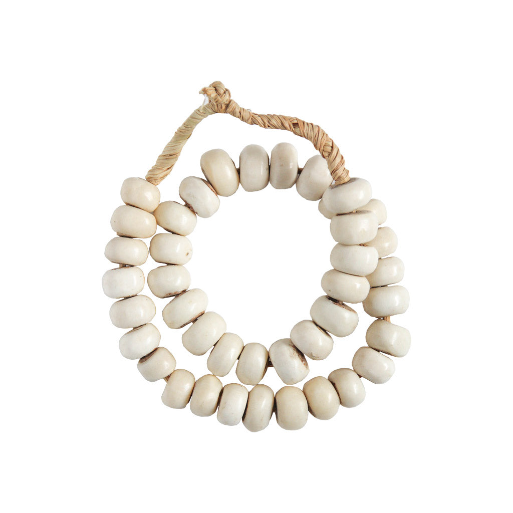 White bone bead strand home decor