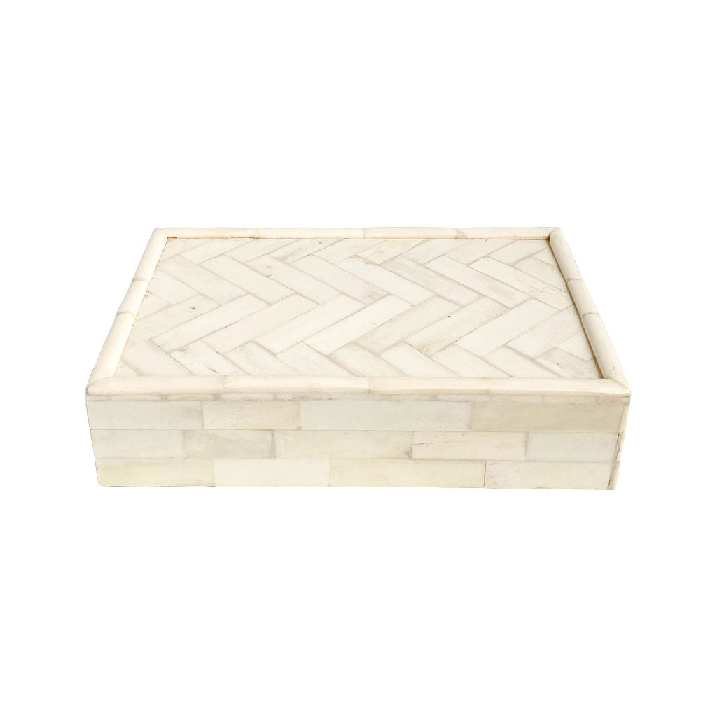 Handmade storage box bone inlay resin neutral home decor