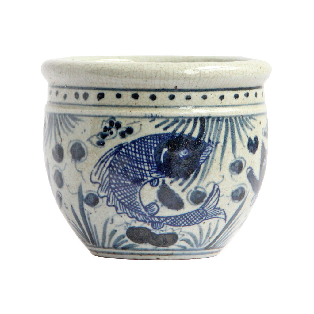 Blue and White Porcelain Pot - koi Fish design