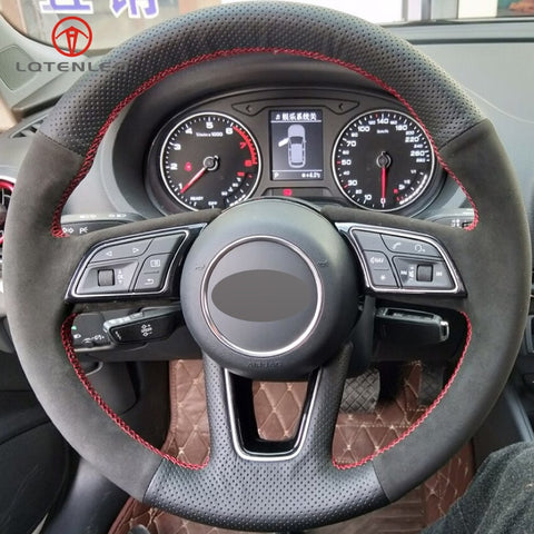 Genuine Black Leather/Suede Steering Wheel Cover