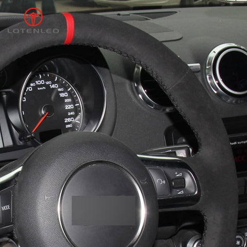 Genuine Black Leather(Suede) Red Strip Steering Wheel Cover