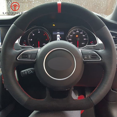 Genuine Black Leather w/ Red Strip Steering Cover (S&RS Edition)