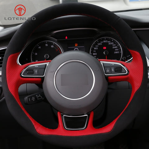 Genuine Red & Black Leather(Suede) Steering Wheel Cover