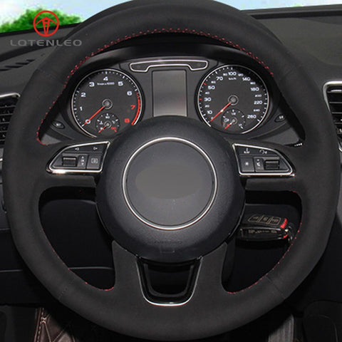 Genuine Black Leather(Suede) Steering Wheel Cover (Q Models)