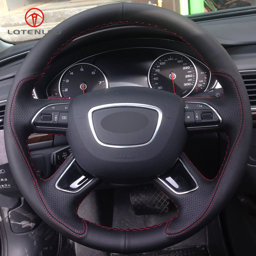 Genuine Black Leather Steering Wheel Cover