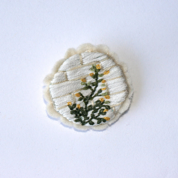 Embroidered Brooch on hemp