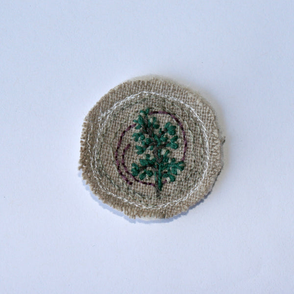 Embroidered Brooch on hemp Cycle