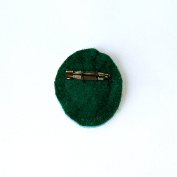 Embroidered Brooch on hemp Nature
