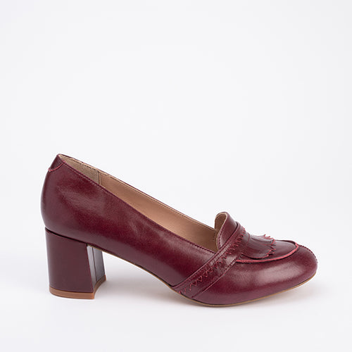 40 - Mocassins Maxine Vernis Bordeaux - Talon 5cms Large